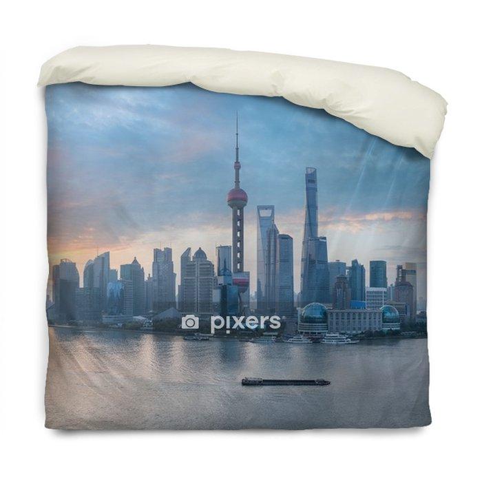 Funda de edredón Panorama del horizonte de Shangai - Paisajes
