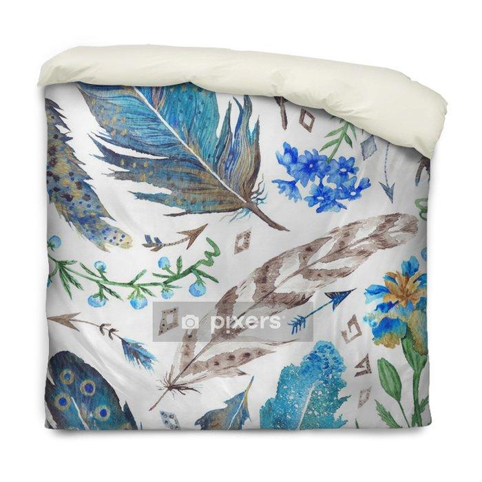 Funda de edredón Patrón de Boho de la acuarela - Plantas y flores