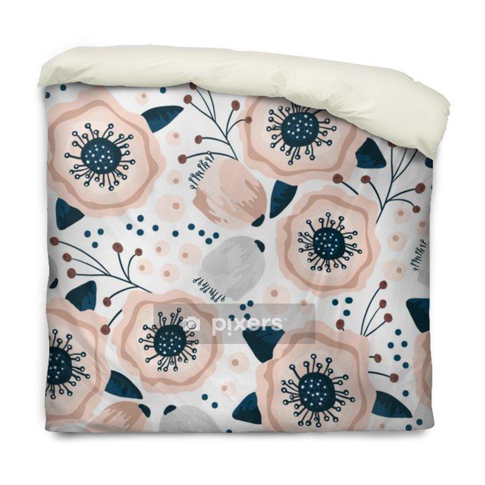 Funda de edredón Patrón sin fisuras con flores en colores pastel. Textura floral creativa. Ideal para tela, ilustración vectorial textil - Recursos gráficos