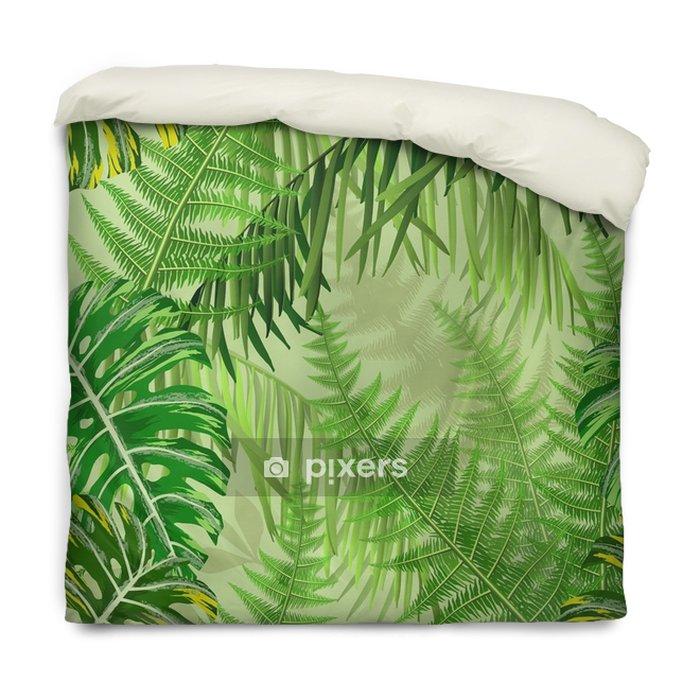Funda de edredón Patrones sin fisuras con hojas tropicales y helechos - Plantas y flores