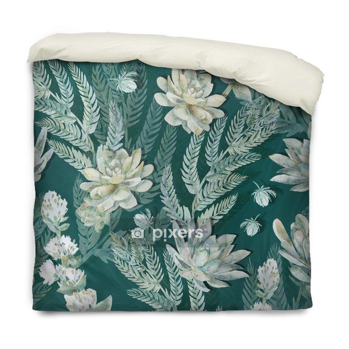 Funda de edredón Sin patrón floral. Suculentas, helechos, espinas. - Animales