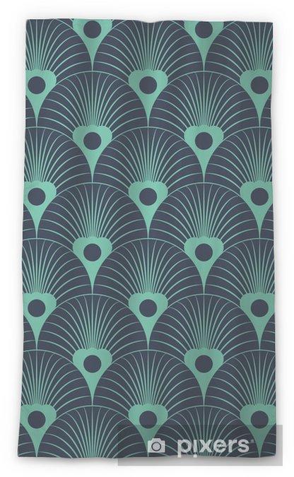 Genomlysande gardin Seamless neonblått art déco blom- överlappande mönster vektor - Grafiska resurser