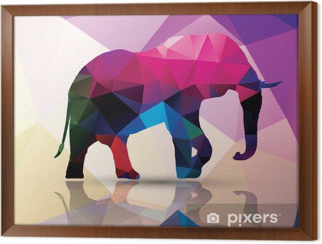 Gerahmtes Leinwandbild Geometrische polygonaler Elefanten, Muster Design, Vektor- - Themen