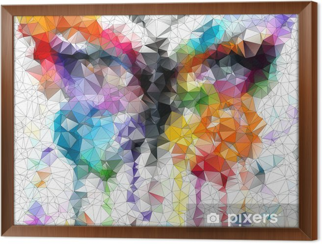 Gerahmtes Leinwandbild Mehrfarbige helle Schmetterling abstrakten geometrischen Hintergrund - Stile
