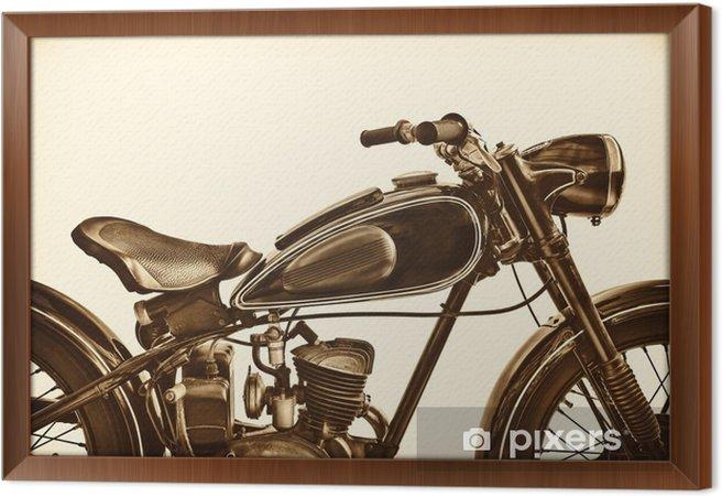 Gerahmtes Leinwandbild Sepia tonte Bild eines Weinlesemotorrads - Transport