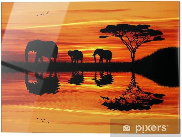 Glasbild Elefanten Silhouette bei Sonnenuntergang - Elefanten