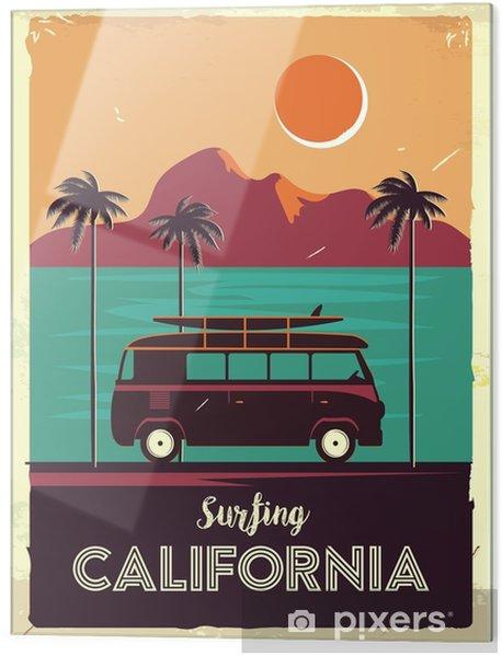 Glasbild Grunge retro Metallschild mit Palmen und van. Surfen in Kalifornien. Vintage Werbeplakat. altmodisches Design - Landschaften