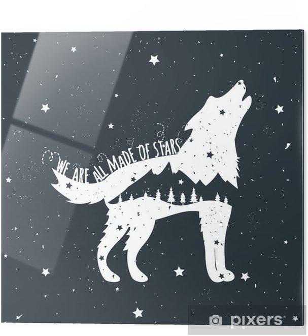 Glasbild Vektor-Illustration mit heulender Wolf, Berge und Bäume - Tiere