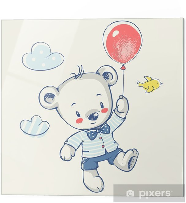 Cute Little Bear Flying On A Balloon Cartoon Hand Drawn Vector Illustration Can Be Used For Baby T Shirt Print Fashion Print Design Kids Wear Baby