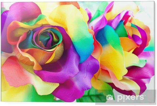 Glass print fake rose flower -