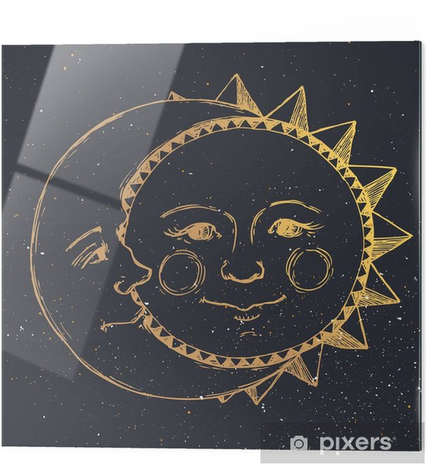 Glass print Hand drawn sun with moon - Graphic Resources