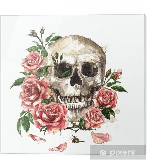 Glass print Human Skull surrounded by Flowers. Watercolor Illustration. - Culture and Religion