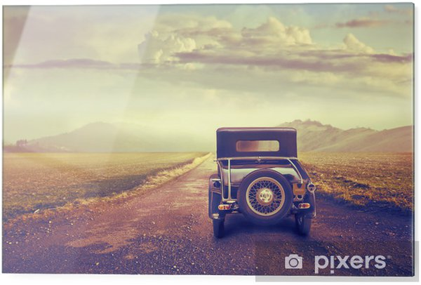 Glass print Journey in a vintage car - Agriculture