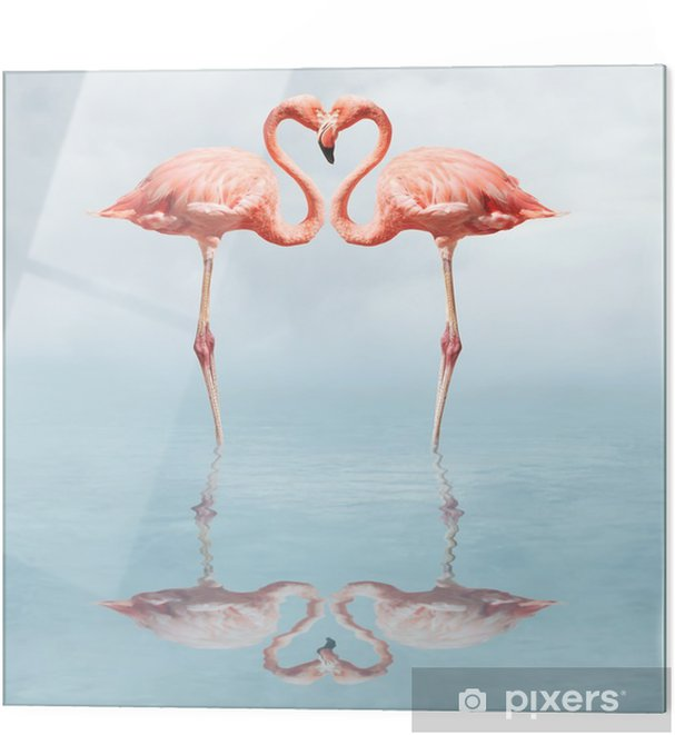 Glass print making love - Flamingos