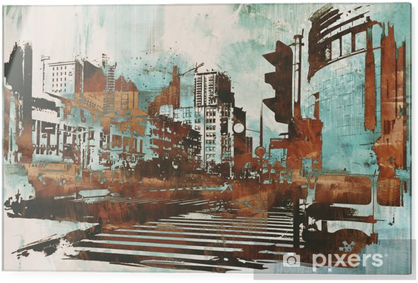 Glass print urban cityscape with abstract grunge,illustration painting - Hobbies and Leisure
