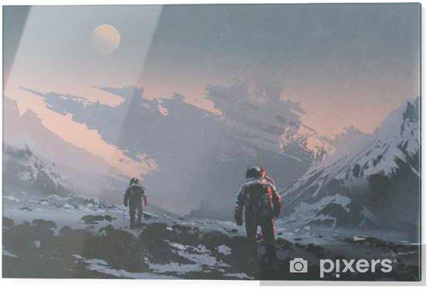 Glastavla Sci-fi-konceptet av astronauter som går till att förlora rymdskepp på främmande planet, illustrationmålning - Hobby och fritid