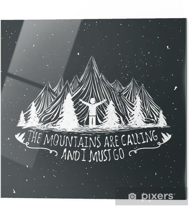 Glastavla Vektor vildmark citat affisch med mansilhouette, berg och skog - Landskap