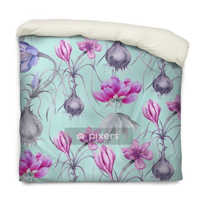 Housse de couette Fond d'une fleur de crocus avec une racine. modèle sans couture. - Plantes et fleurs