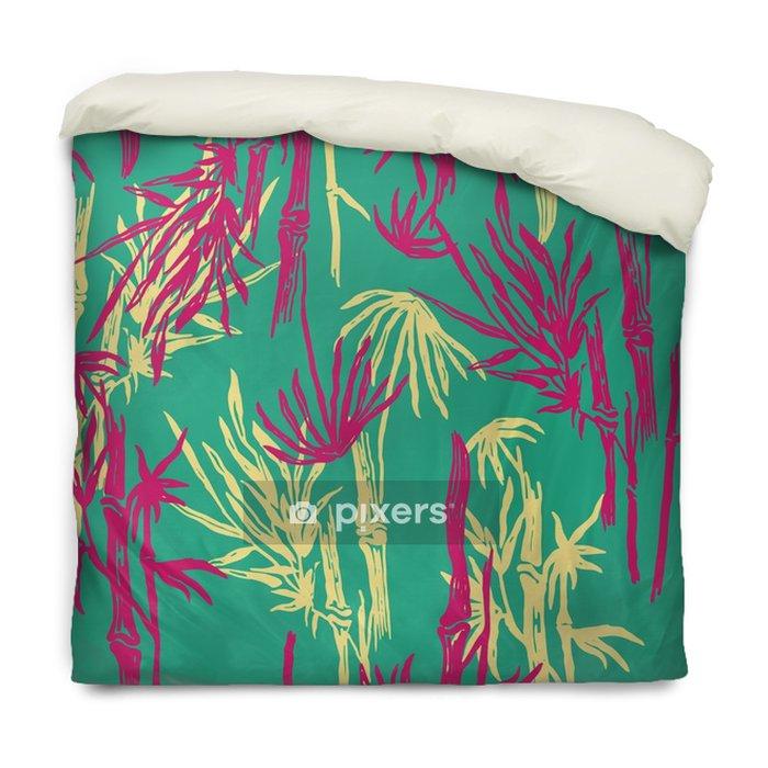 Housse De Couette Modèle De Feuilles Tropicales Sans Soudure De Bambou Sur Fond Branché Exotique Papier Peint Végétal Asiatique Tropical Imprimé