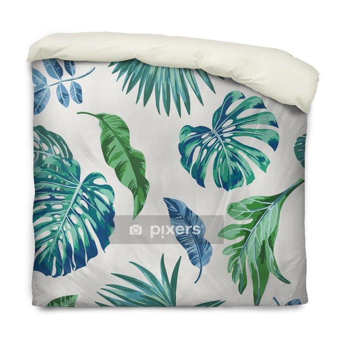 Housse De Couette Modèle Exotique Sans Couture Avec Des Feuilles Tropicales