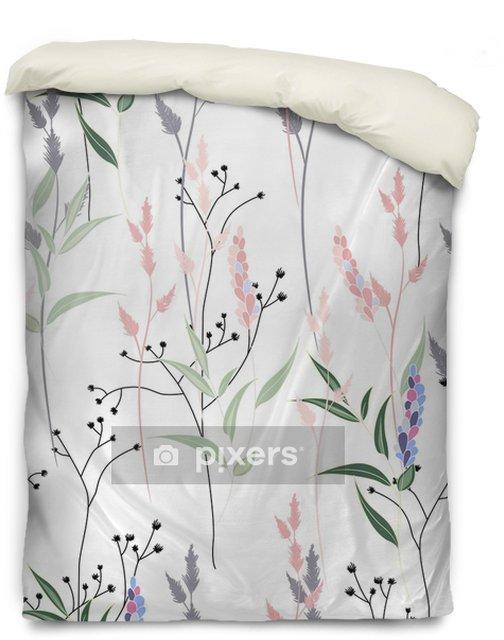 Housse de couette Modèle sans couture avec des fleurs sauvages, des herbes et des herbes. silhouettes fines lignes délicates de différentes plantes. couleurs pastel douces sur fond blanc - Plantes et fleurs