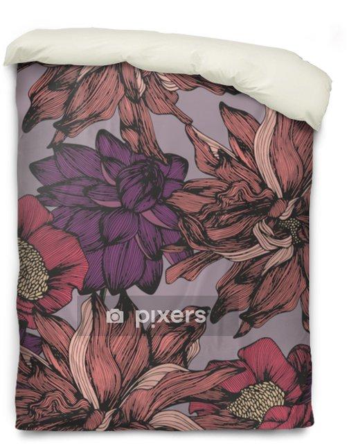 Housse de couette Modèle sans couture de vecteur avec des couleurs détaillées complexes. dessin à main levée - Plantes et fleurs