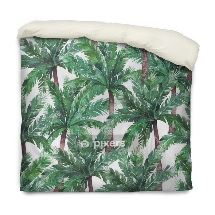 Housse De Couette Modèle Sans Couture Exotique Aquarelle Arbre Tropical Vert