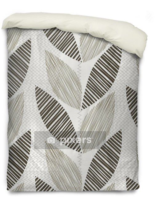 Housse de couette Monochrome seamless pattern de feuilles abstraites. - Plantes