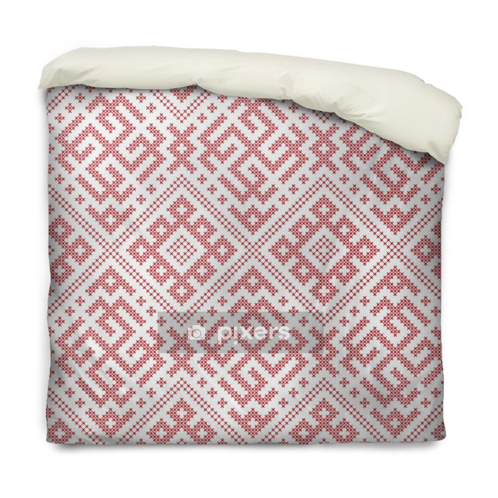 Housse de couette Motif folklorique russe sans soudure, point de croix broderie imitation. Patterns se composent d'anciens amulettes slaves. Swatch inclus dans le fichier vectoriel. - Ressources graphiques