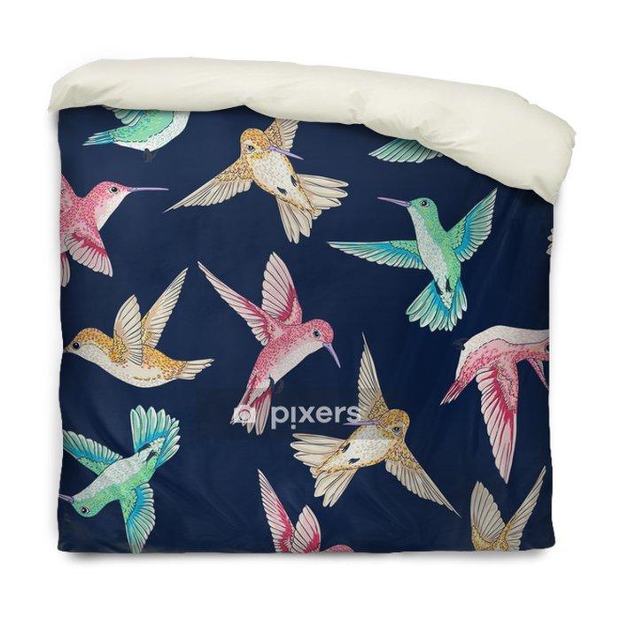 Housse de couette Seamless vecteur voler petits oiseaux de paradis modèle conversationnel multi couleur, le temps du printemps d'été, doux romantique colibri, fond colibri allover conception d'impression - Animaux