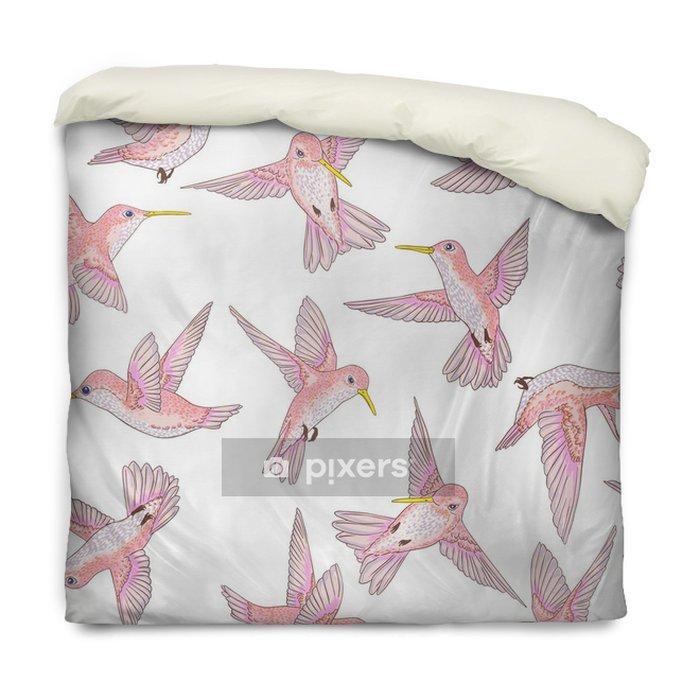 Housse de couette Vecteur transparente battant petit modèle de conversation des oiseaux de paradis, printemps été, doux colibri romantique, colibri fond allover impression design - Animaux