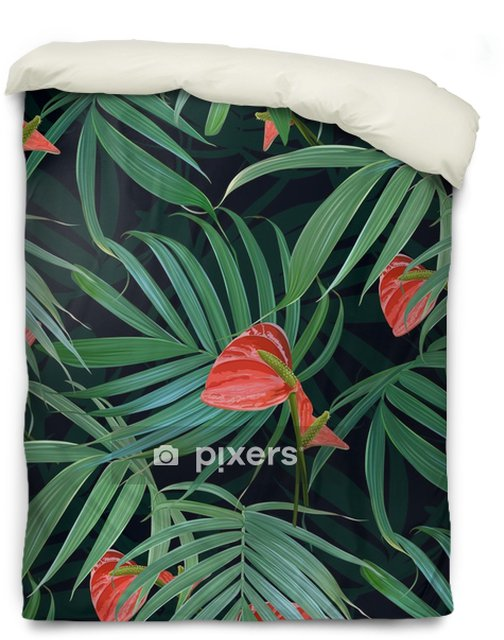 Housse De Couette Vector Fleurs Tropicales Et Palmiers Modèle Sans Couture Fond Floral Hawaïen Exotique Plantes épanouies Plantes De La Jungle