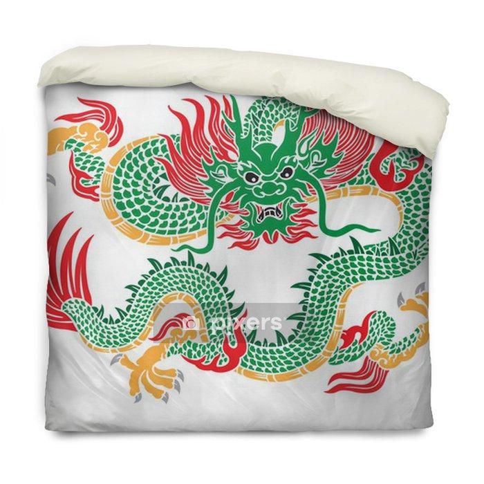 Housse De Couette Vert Vecteur De Dragon Chinois