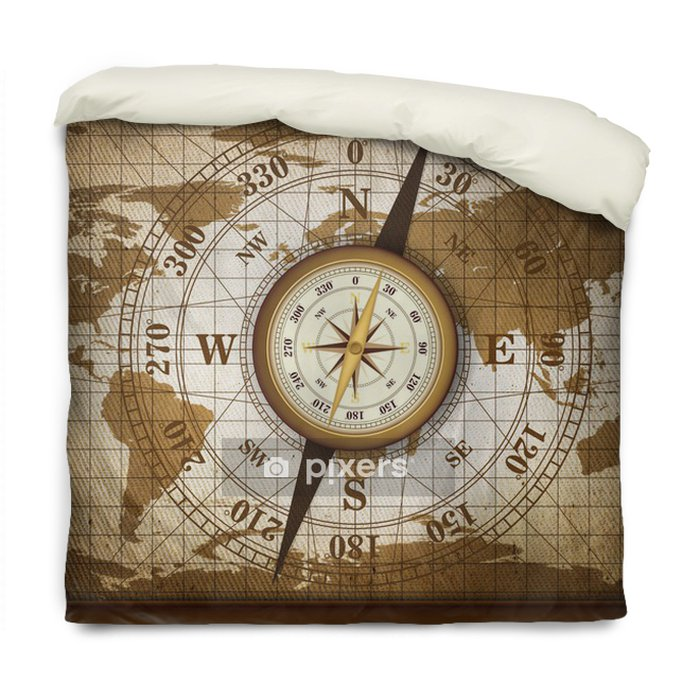 Housse de couette Voyage vintage Carte et boussole avec le vieux fond de texture de tissu, Adventure Background - Thèmes