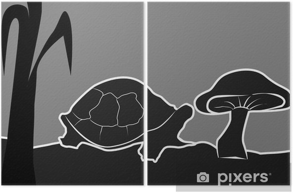 Bir Mantar Yakın Kaplumbağa çizimi Iki Parçalı Pixers Haydi
