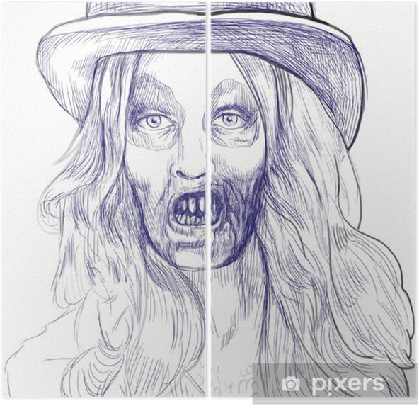 Bir ölümsüz Zombi Kıllı Kız Portresi El çizimi Iki Parçalı