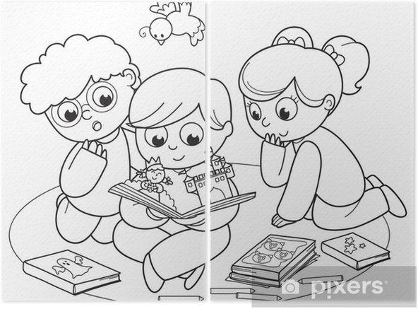 Birlikte Bir Pop Up Kitap Okuma Arkadaslar Cizime Boyama Iki