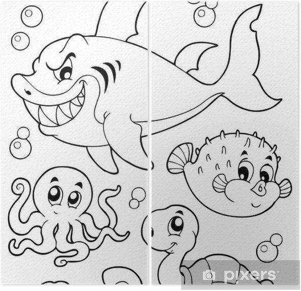 Boyama Kitabi Cesitli Deniz Hayvanlari 1 Iki Parcali Pixers
