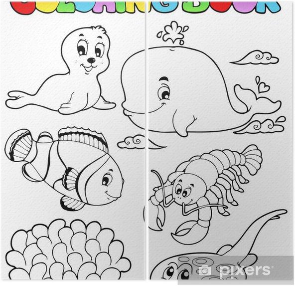 Boyama Kitabı çeşitli Deniz Hayvanları 3 Iki Parçalı Pixers