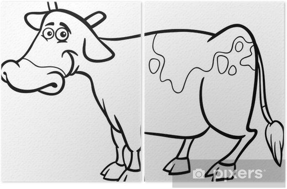Boyama Kitabi Icin Ciftlik Inek Karikatur Iki Parcali Pixers