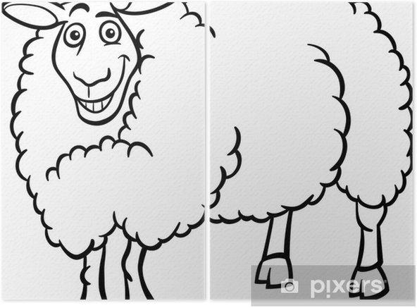 Boyama Kitabı Için çiftlik Koyun Karikatür Iki Parçalı Pixers