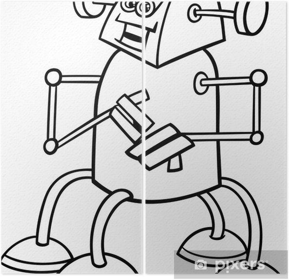 Boyama Kitabı Için Karikatür Robot Iki Parçalı Pixers Haydi