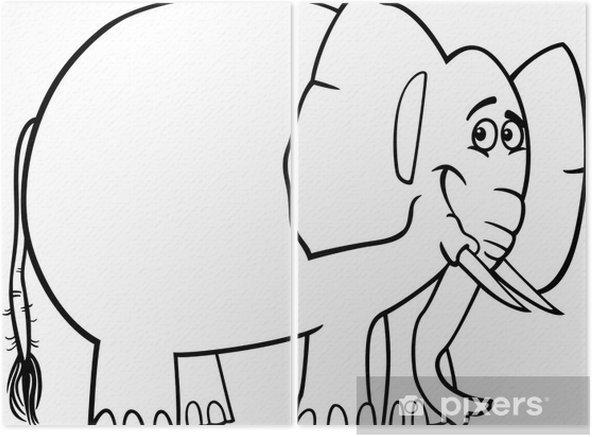 Boyama Kitabi Icin Sevimli Fil Karikatur Iki Parcali Pixers