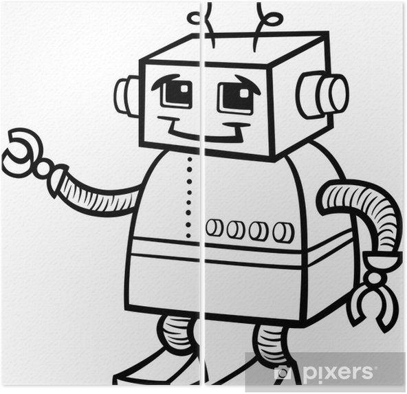 Boyama Robot Karikatur Illustrasyon Iki Parcali Pixers Haydi