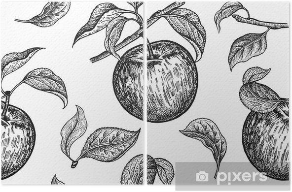 Dikissiz Model Gercekci Meyve Dal Ve Elma Agaci Yapragi Siyah
