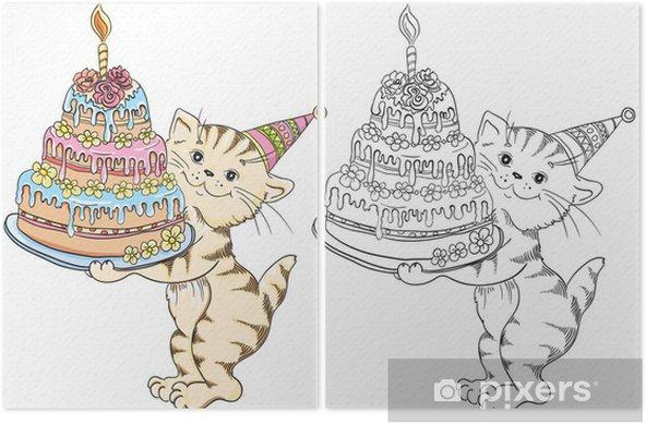 Doğum Günü Pastası Ile Karikatür Kedi Ile Boyama Kitabı Iki Parçalı