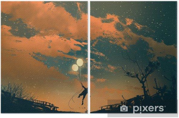 Iki Parçalı Gün Batımı Illüstrasyon Boyama Balon ışıkları Ile Uçan Adam