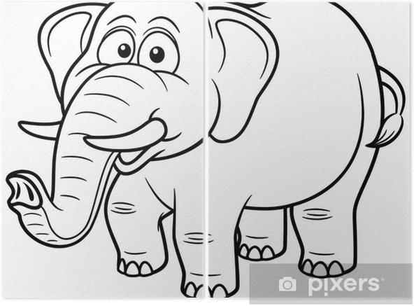 Karikatur Fil Vector Illustration Boyama Kitabi Iki Parcali