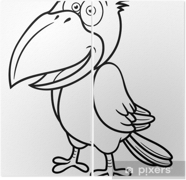 Karikatur Karga Vector Illustration Boyama Kitabi Iki Parcali
