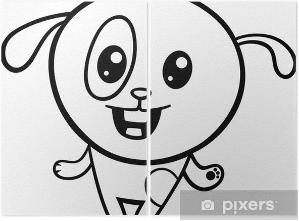 Karikatür Kawaii Köpek Yavrusu Boyama Iki Parçalı Pixers Haydi